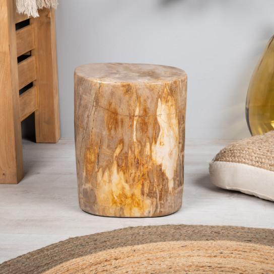 Puf de madera fosilizada 50 cm