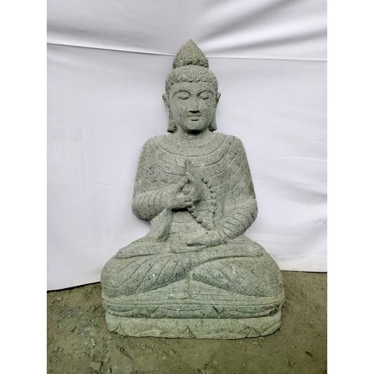 Statue de jardin Bouddha assis en pierre offrande et chapelet 80cm
