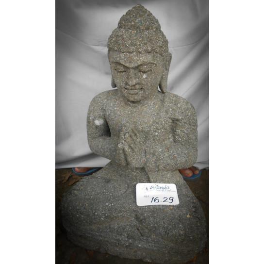 Statue en pierre de Bouddha assis position Prière 50 cm