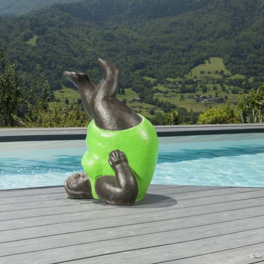 Statue femme contemporaine colorée vert 65 cm