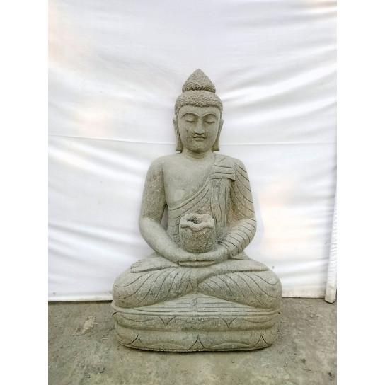 Statue jardin Bouddha assis en pierre volcanique bol à offrande 80cm