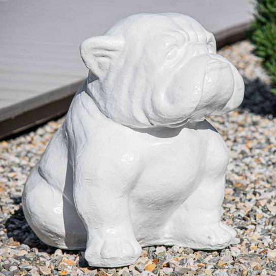 Statue moderne chien bouledogue blanc 40cm