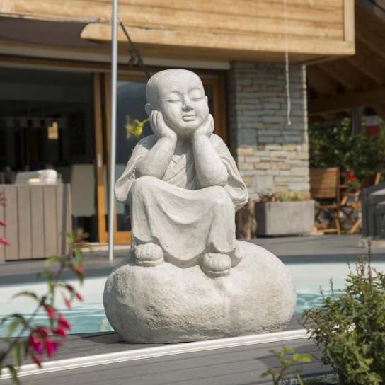 Statue moine Shaolin pensif gris 80 cm