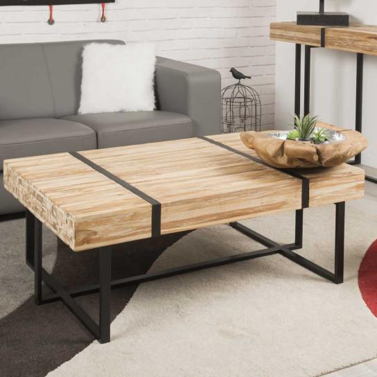 Table basse en teck blanchi NOUMEA 110
