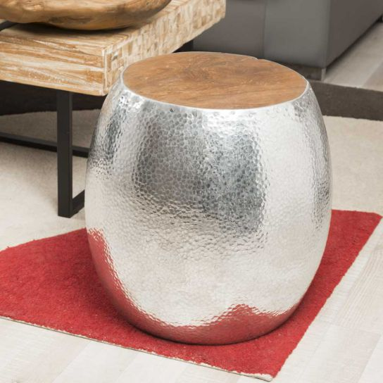 Tabouret boule Aluminium martelé LODGE