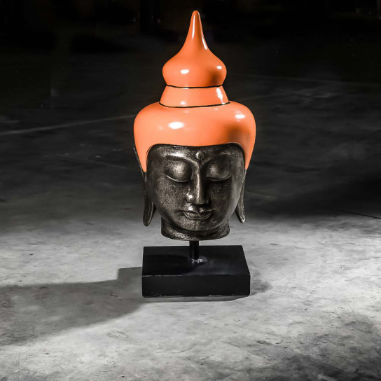 Tête bouddha grand modèle Orange 73 cm
