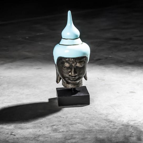 Tête bouddha petit modèle bleu turquoise 40 cm