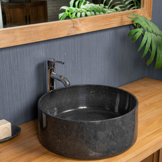 Ulysse large round black countertop sink 40 cm