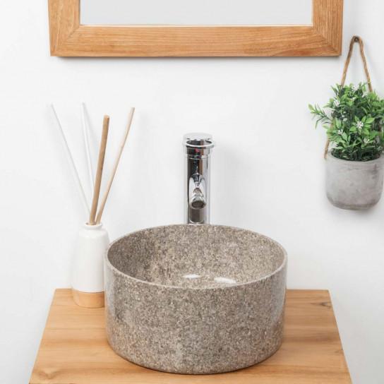 Ulysse round grey marble bathroom sink 30 cm
