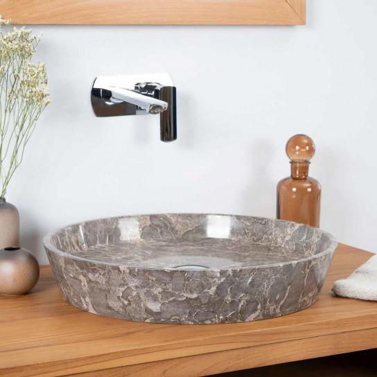 vasque à poser en marbre pour salle de bain Malo gris 45cm