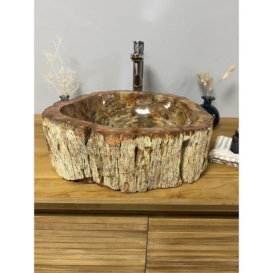 Vasque de salle de bain à poser en bois pétrifié fossilisé 40 CM
