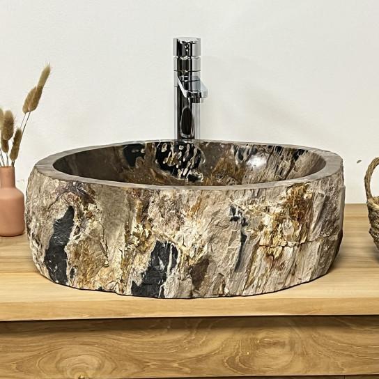 Vasque de salle de bain à poser en bois pétrifié fossilisé 52 CM