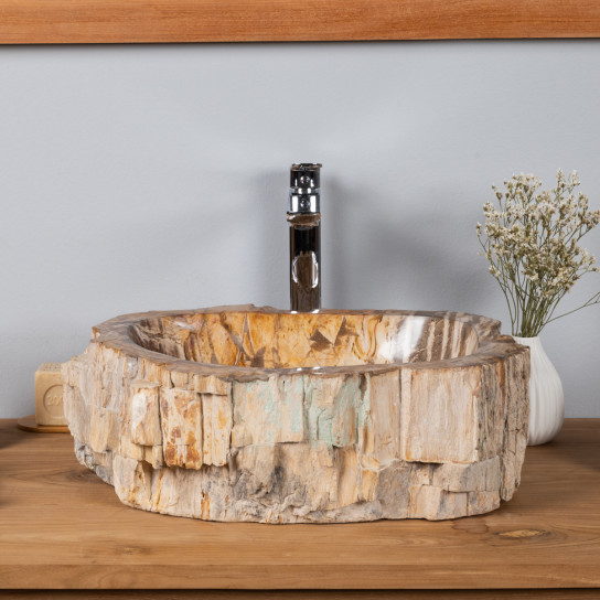 Vasque en bois pétrifié à poser 46 CM