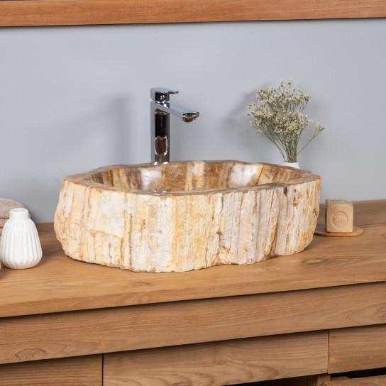 Vasque salle de bain en bois fossilisé pétrifié à poser 68 cm