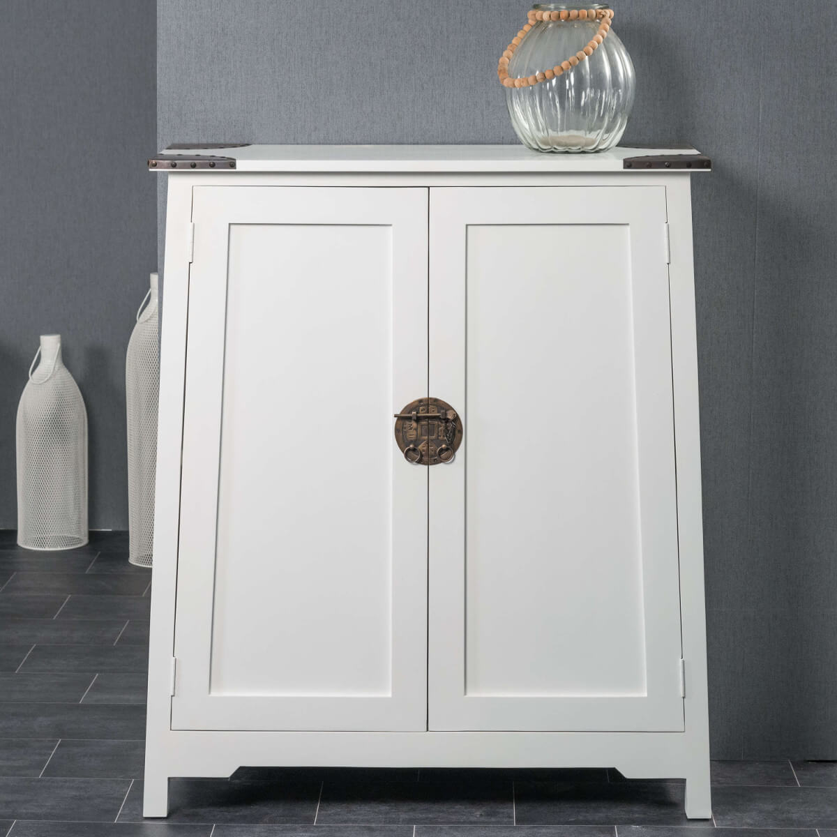 Bahut De Salon En Bois D Acajou Massif Thao Rectangle Blanc L  # Meuble Blanc Acajou