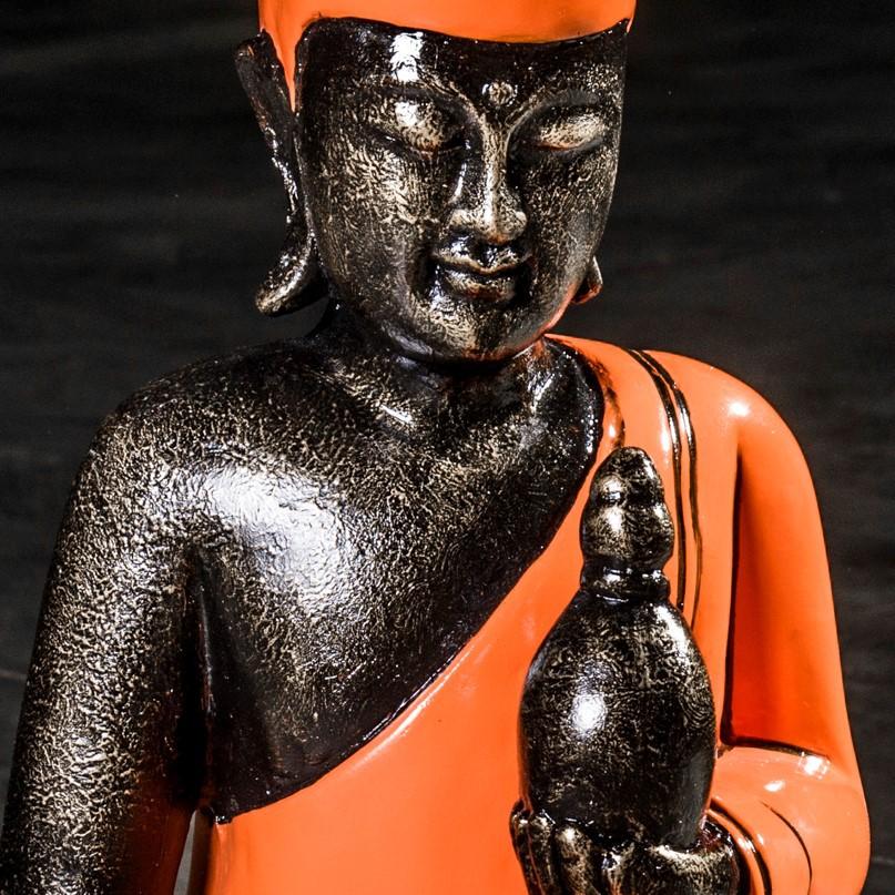 Statue Bouddha : Bouddha Assis, Orange, Fibro Ciment, 61 Cm