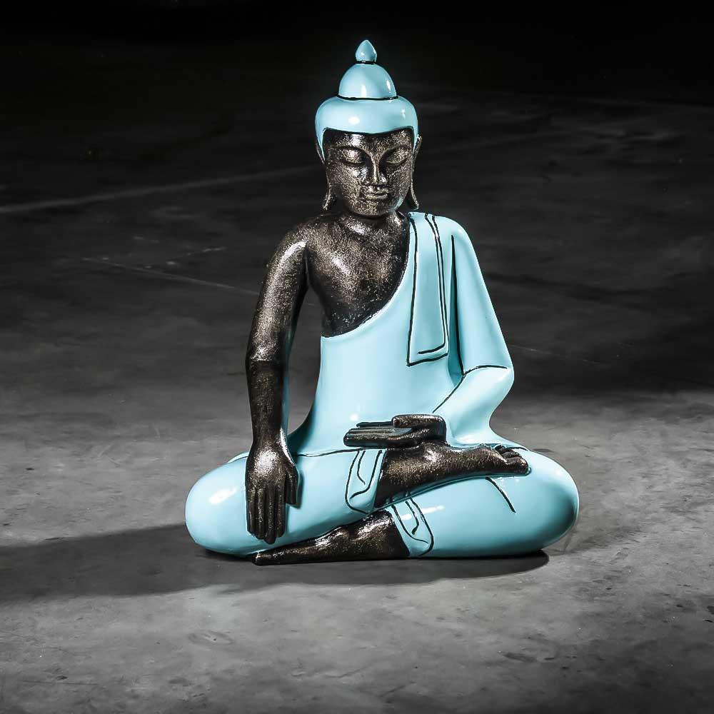 Statue Bouddha : Statuette Deco, Bleu Turquoise, Fibro