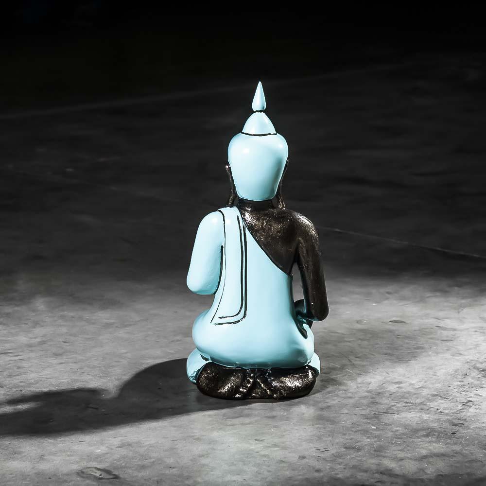 Statue bouddha statuette deco bleu turquoise fibro for Objet deco bleu turquoise