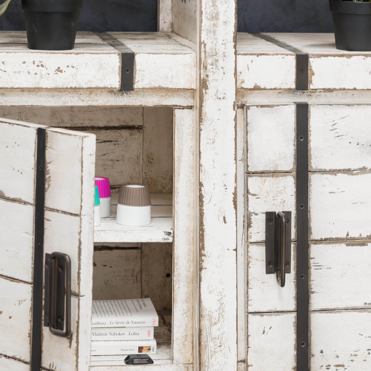 buffet de salon en mindi loft blanc 114 cm. Black Bedroom Furniture Sets. Home Design Ideas