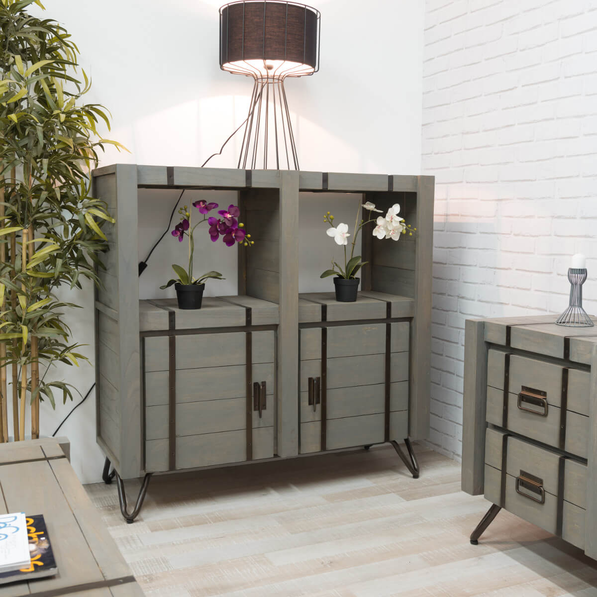 Buffet De Salon En Bois De Mindi Massif Loft Rectangle Gris L  # Buffet De Salon En Bois