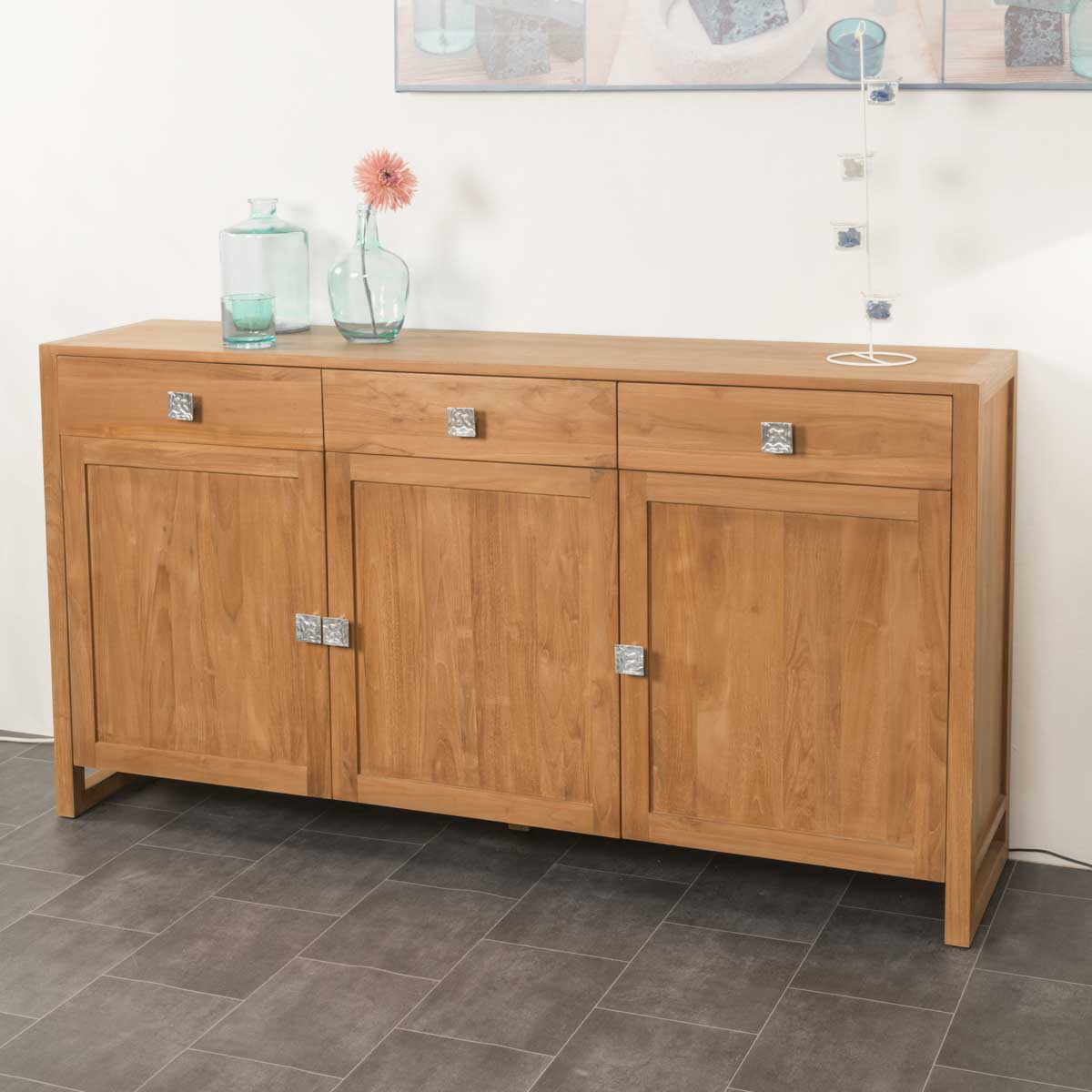 Buffet De Salon En Bois De Teck Massif Thea Rectangle Naturel  # Buffet De Salon En Bois