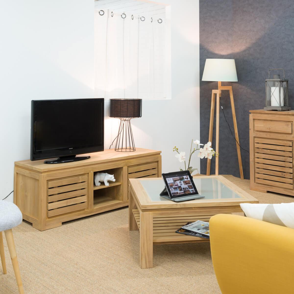 buffet de salon en bois de teck massif zen rectangle naturel l 160 cm. Black Bedroom Furniture Sets. Home Design Ideas