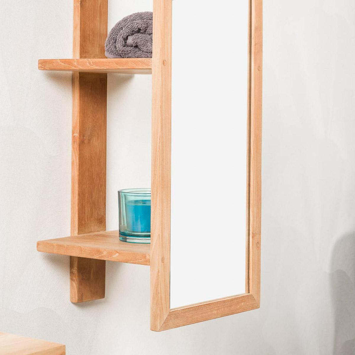 colonne avec miroir en teck suspendre salle de bain. Black Bedroom Furniture Sets. Home Design Ideas