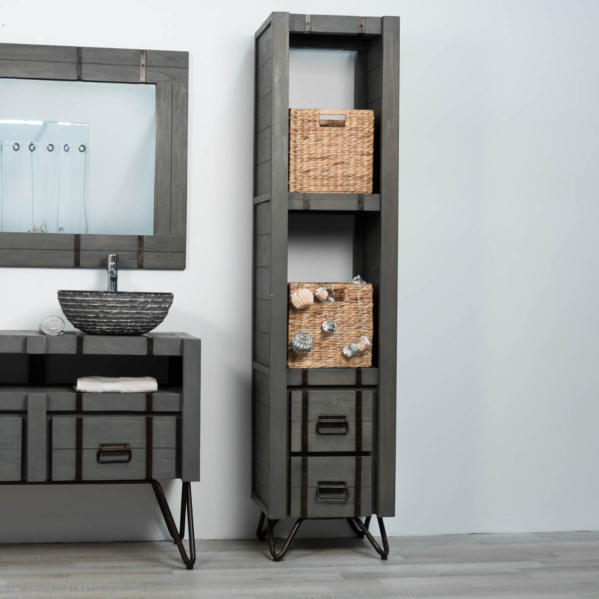 colonne de rangement en bois mindi massif m tal loft. Black Bedroom Furniture Sets. Home Design Ideas