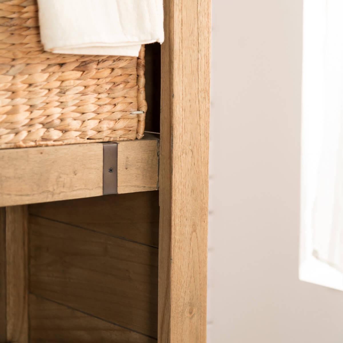 Colonne de rangement en bois mindi massif m tal loft for Bois de mindi