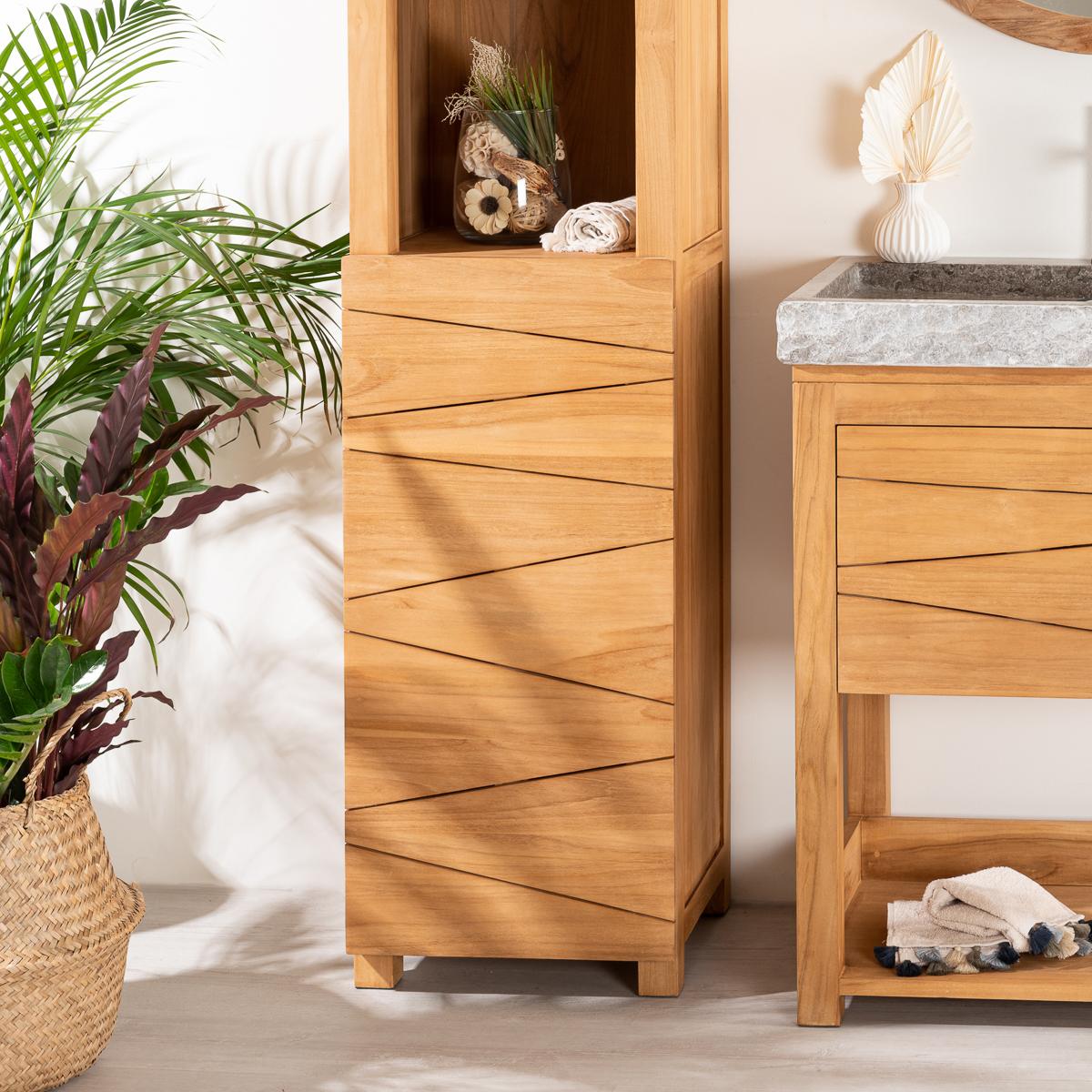 colonne salle de bain en teck massif harmonie 190cm. Black Bedroom Furniture Sets. Home Design Ideas