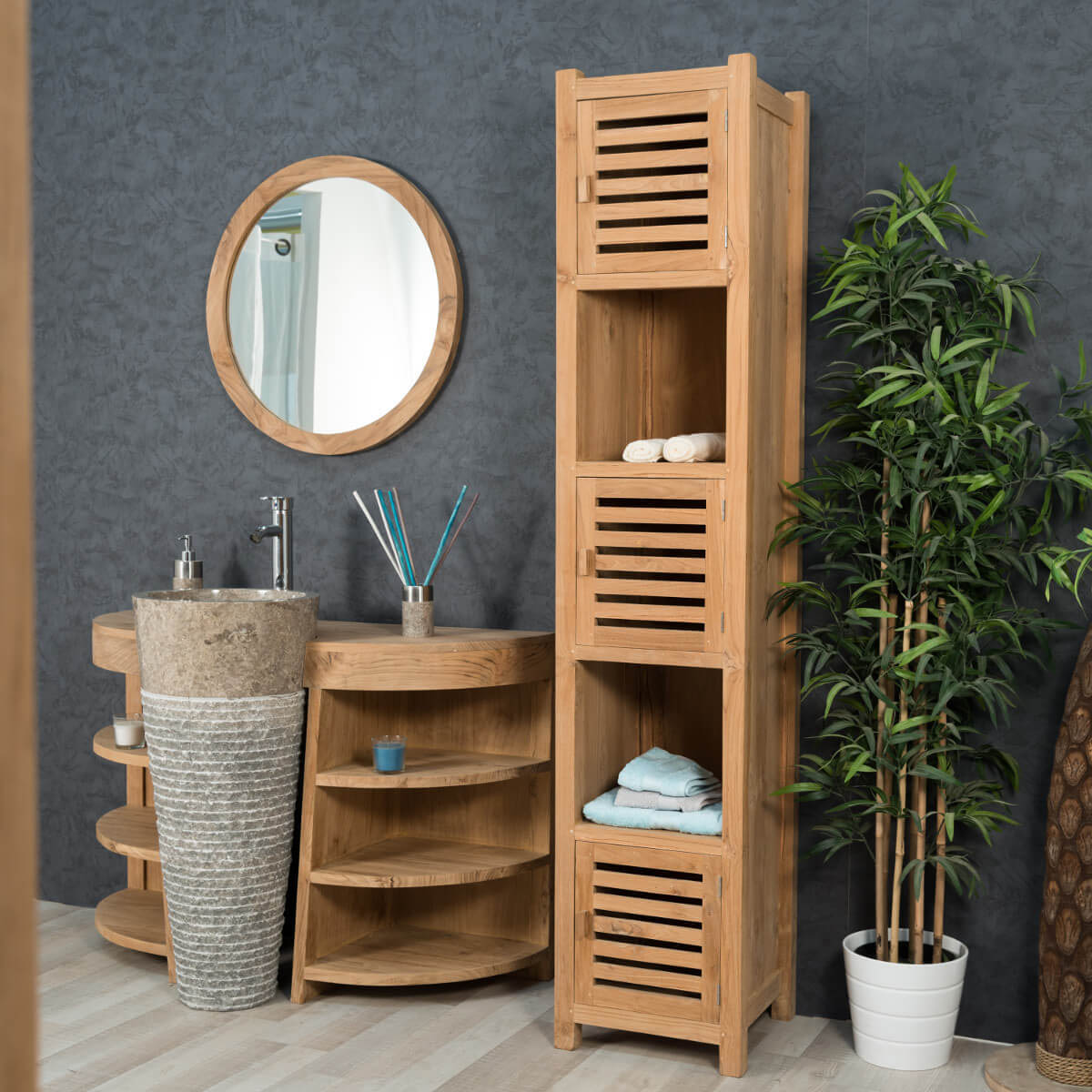 colonne de rangement en bois massif 200cm meubles salle de bain wanda collection. Black Bedroom Furniture Sets. Home Design Ideas