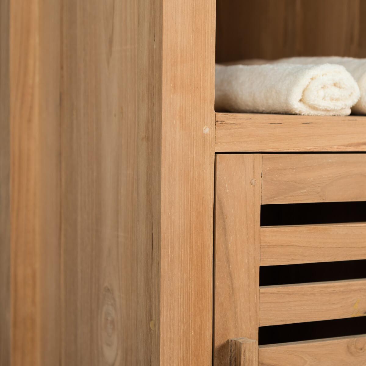 Colonne de rangement en bois teck massif nature - Colonne salle de bain avec miroir ...
