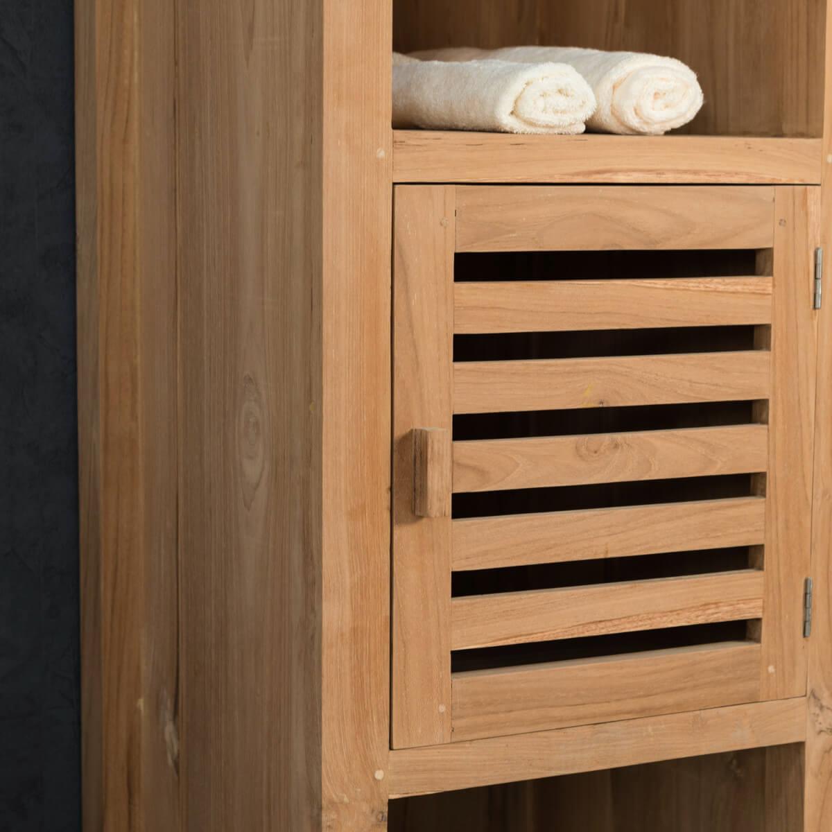 Colonne de rangement en bois teck massif nature for Colonne de salle de bain vima