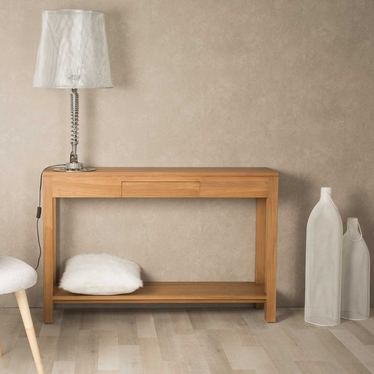 console de salon en bois de teck massif moderne rectangle naturel l 120. Black Bedroom Furniture Sets. Home Design Ideas