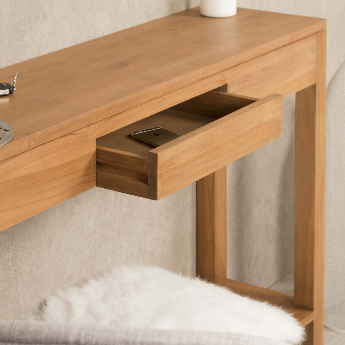 Console de salon en bois de teck massif moderne for Meuble d appoint salon