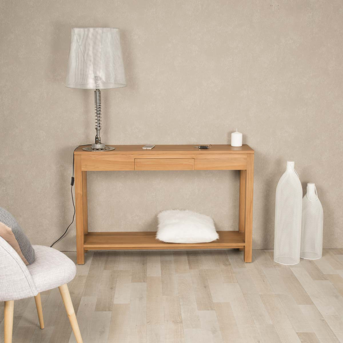 Console De Salon En Bois De Teck Massif Moderne Rectangle  # Meuble De Salon En Boi Massif