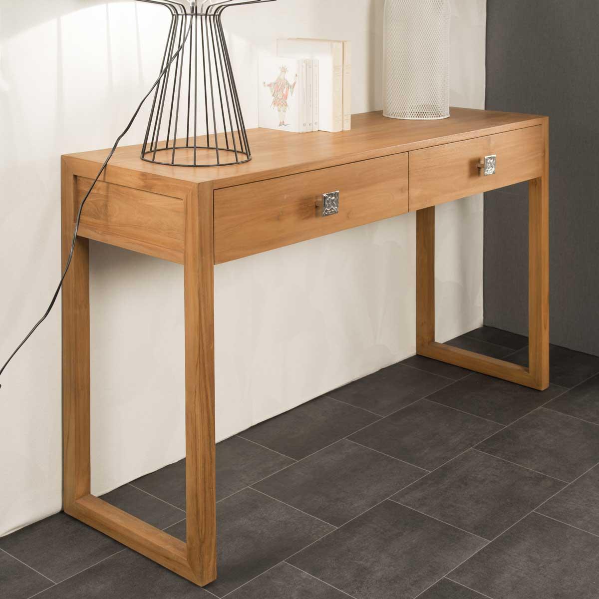 Console de salon en bois de teck massif th a rectangle for Meuble console japonais