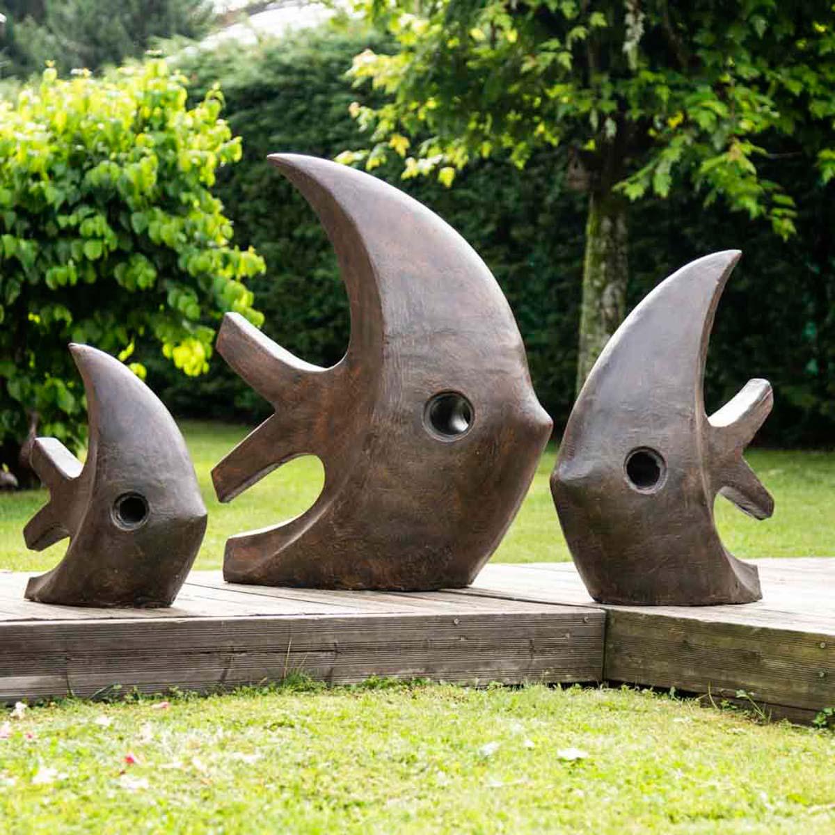 Deco Moderne Jardin Statue Poisson Petit Modele Brun 50cm