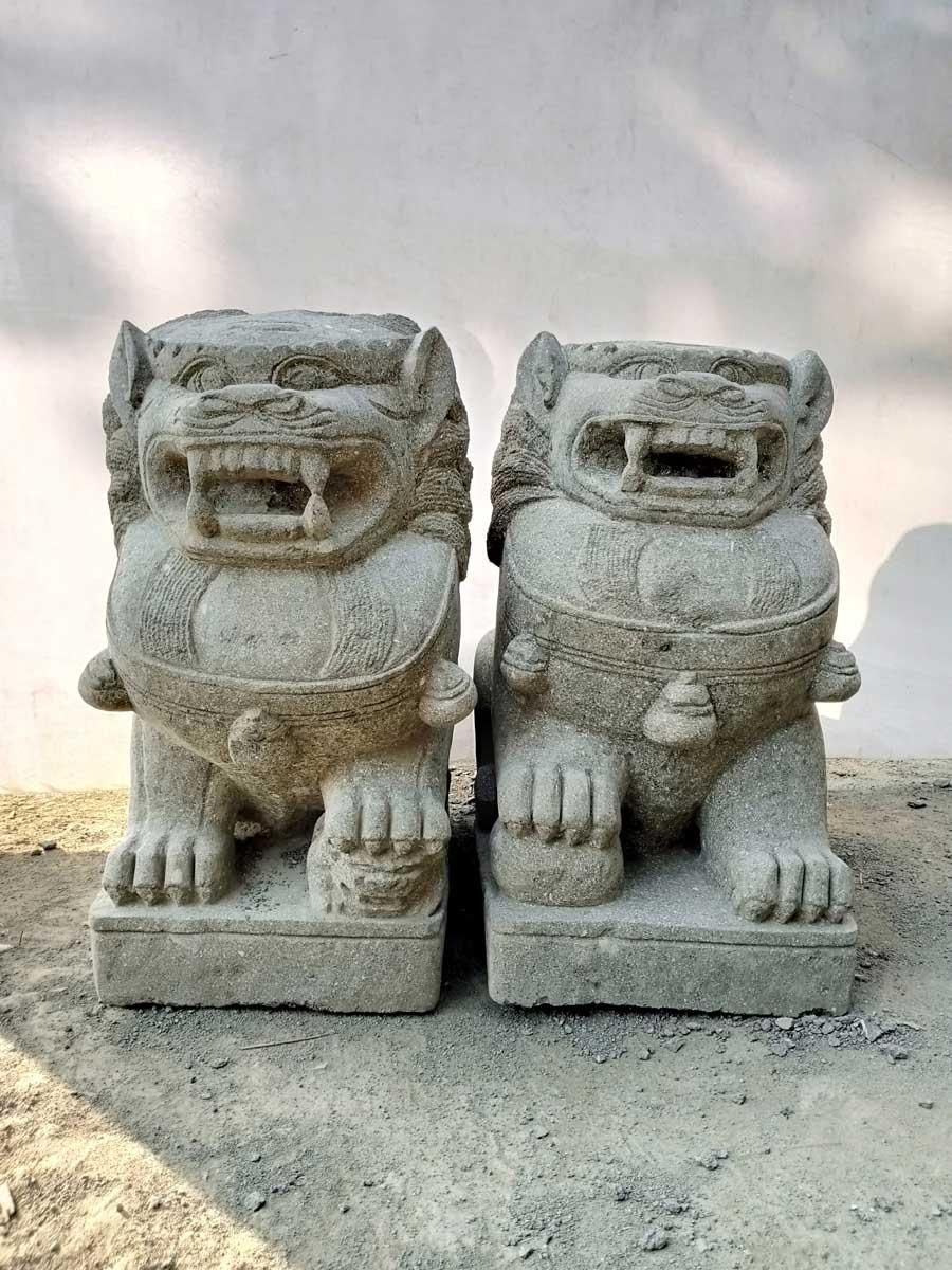 Dos estatuas jard n perro fu le n piedra volc nica 60 cm - Estatuas de jardin ...