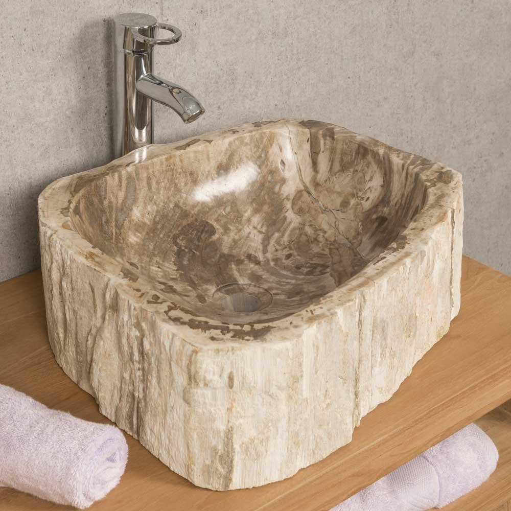 Vasque salle de bain double vasque poser bois p trifi for Salle de bain double vasque en bois