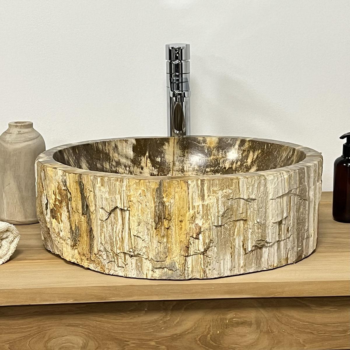 vasque beige salle de bain Double vasques de salle de bain en bois pétrifié fossilisé 45 CM