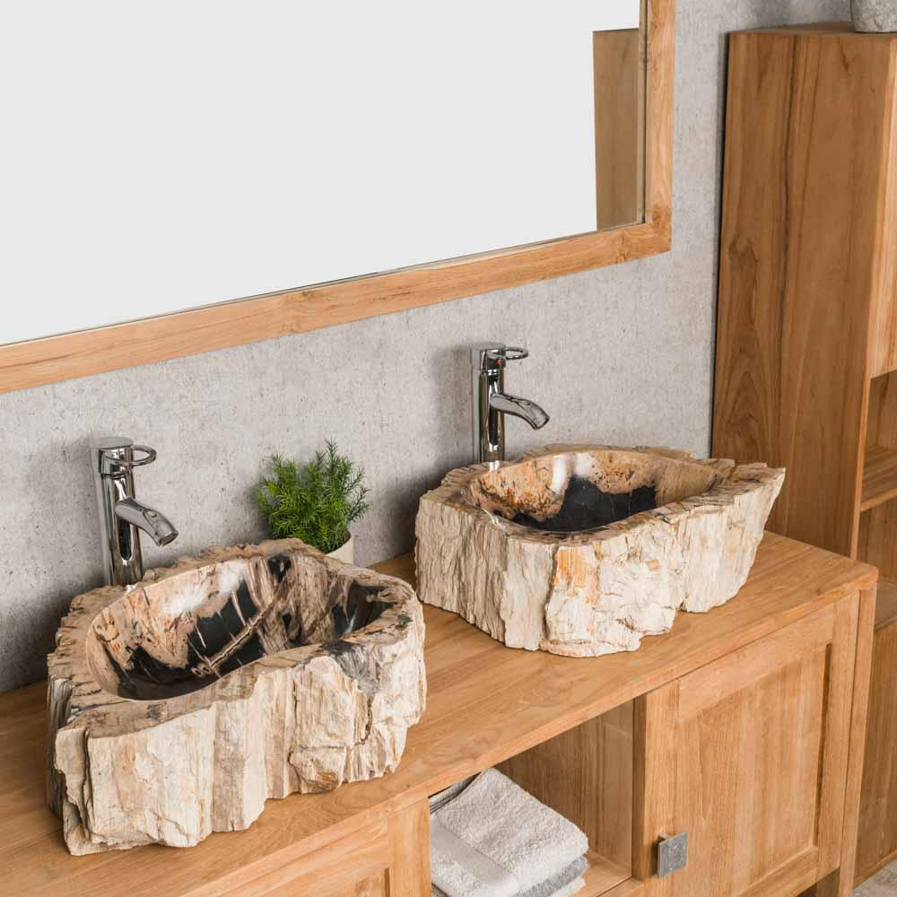 double vasques de salle de bain en bois p trifi fossilis beige marron l 45 cm. Black Bedroom Furniture Sets. Home Design Ideas