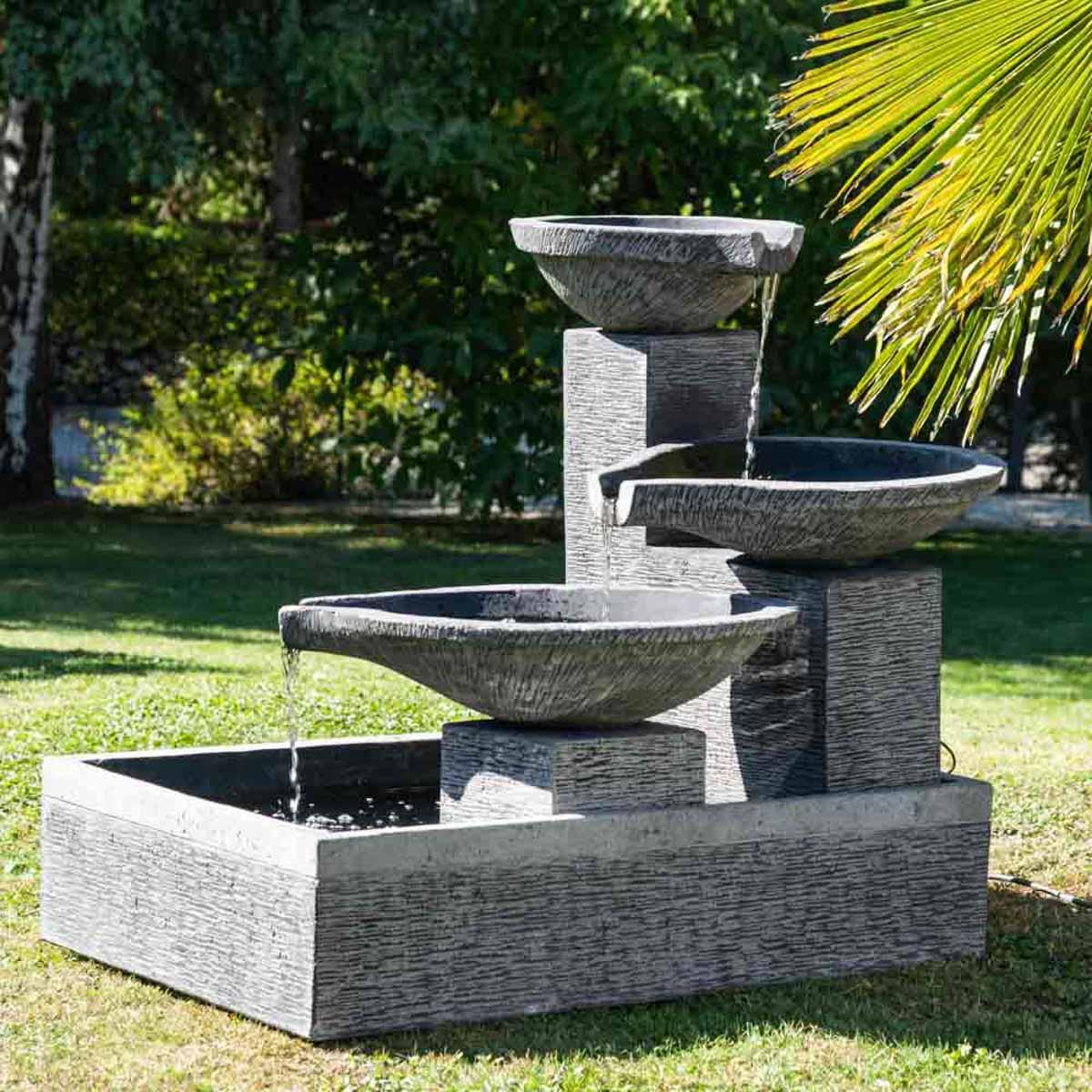 Bassin Fontaine De Jardin fontaine de jardin à débordement bassin 3 vasques noire grise