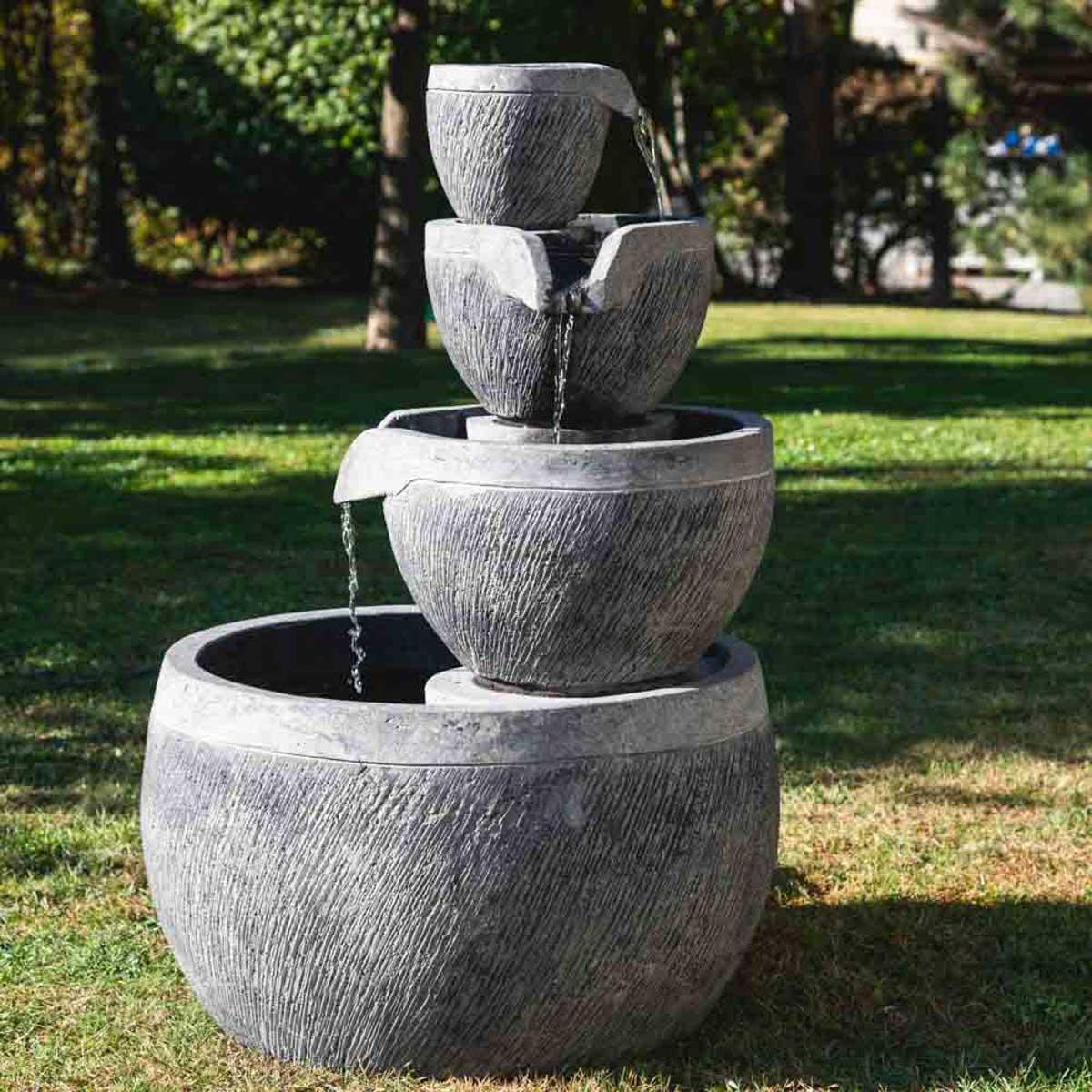 Fontaine de jardin bassin rond 1.10m 4 coupes noire grise
