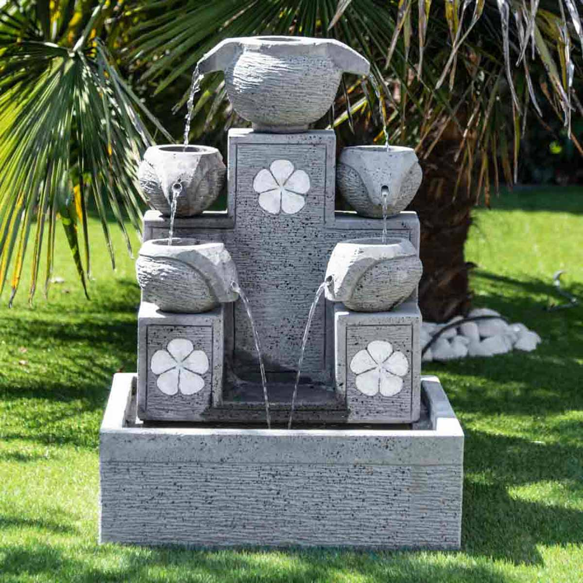 fontaine de jardin fontaine cascade 90 cm grise ciment. Black Bedroom Furniture Sets. Home Design Ideas