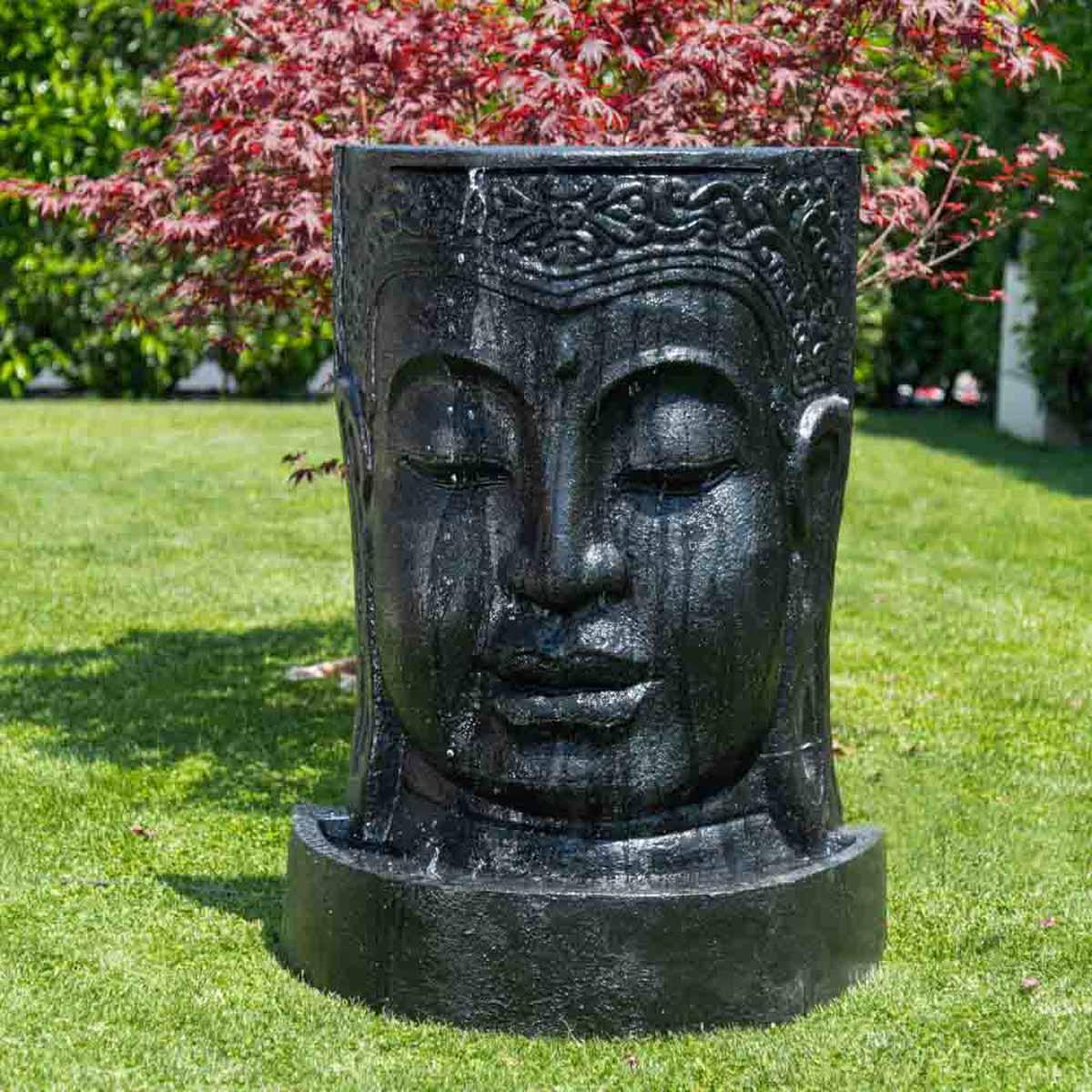 fontaine de jardin mur d 39 eau visage de bouddha 1 m 20 noir. Black Bedroom Furniture Sets. Home Design Ideas
