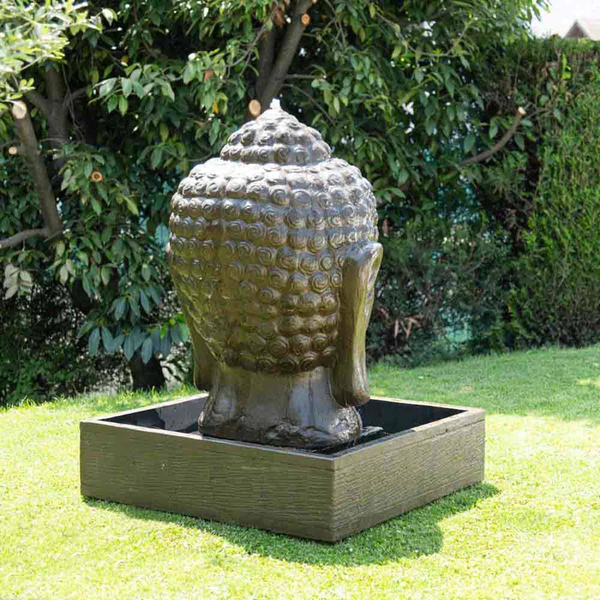 Photo Fontaine De Jardin fontaine de jardin tête de bouddha 1 m 30 brun