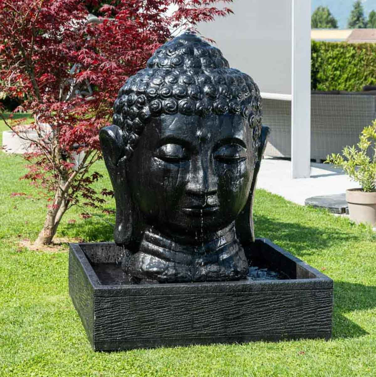 fontaine de jardin fontaine avec bassin t te de bouddha noire h 1 m 30. Black Bedroom Furniture Sets. Home Design Ideas