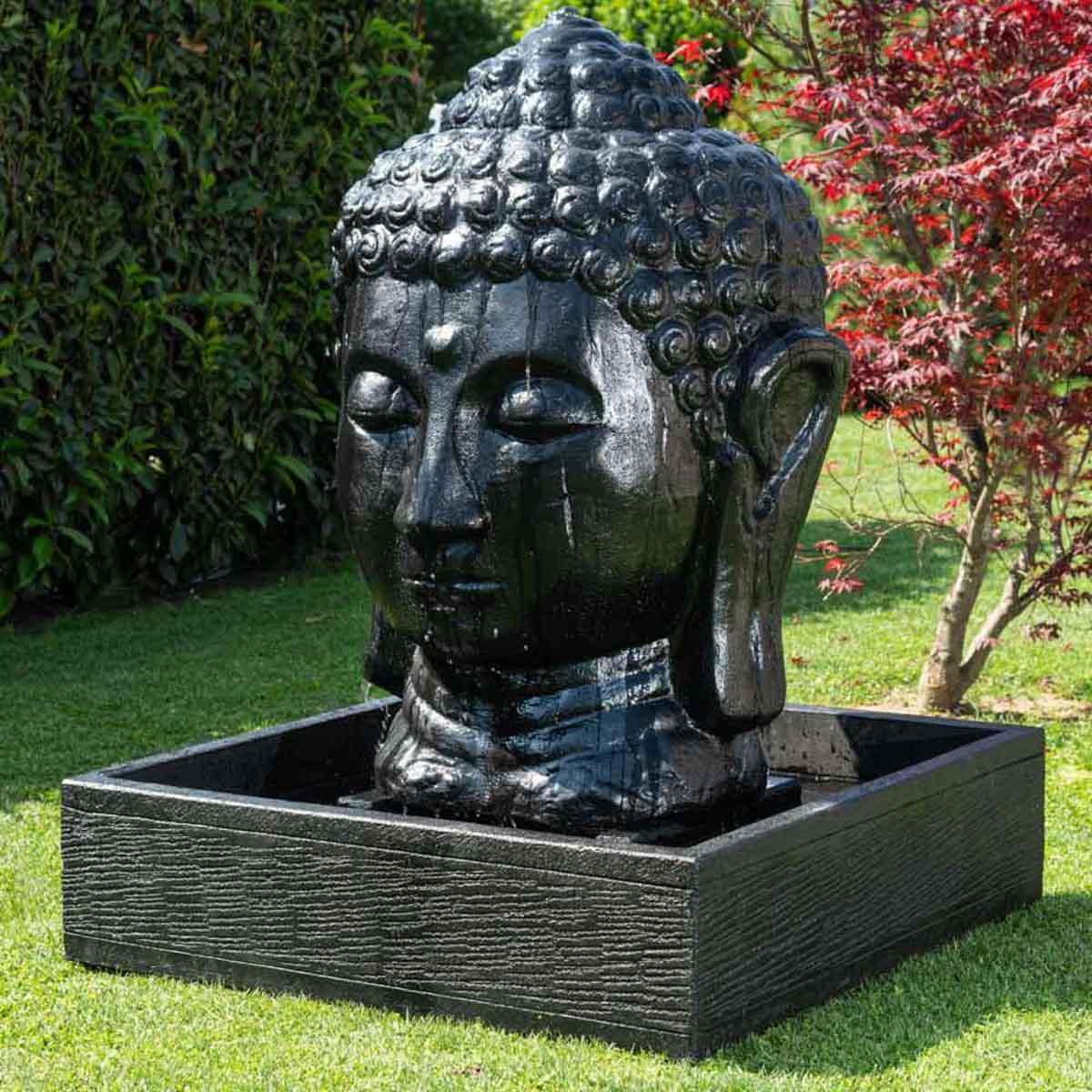 fontaine de jardin fontaine avec bassin t te de bouddha noire h 1 m 30. Black Bedroom Furniture Sets. Home Design Ideas