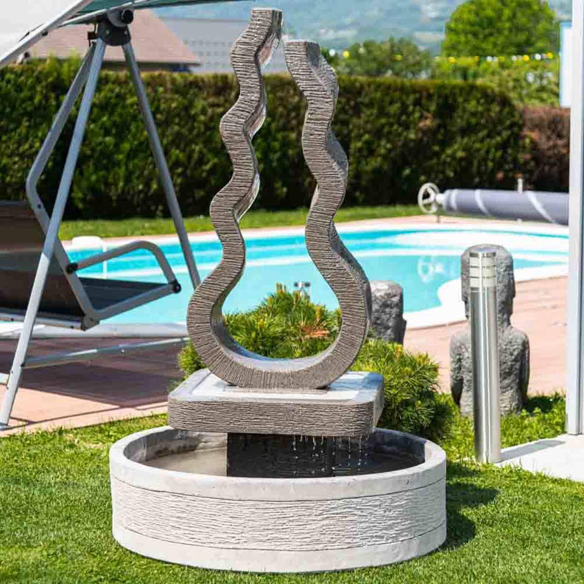 fontaine de jardin fontaine exterieur gris ciment 160cm. Black Bedroom Furniture Sets. Home Design Ideas